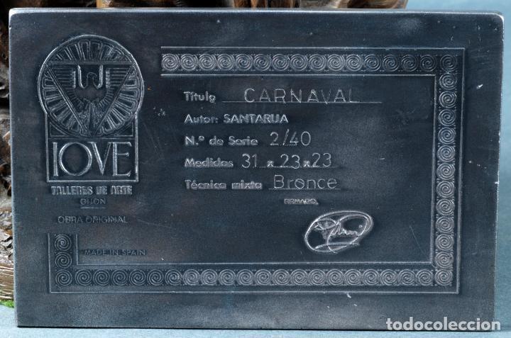 Arte: Escultura Carnaval en bronce Vicente Menendez Prendes Santarua 2/40 certificado autenticidad - Foto 11 - 142076006