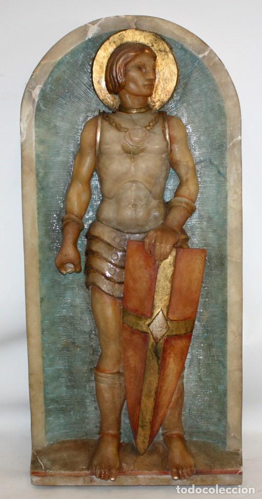 SENSACIONAL PLAFON DE SAN JORDI EN ALABASTRO DE APROXIMADAMENTE 1900 (Arte - Escultura - Alabastro)