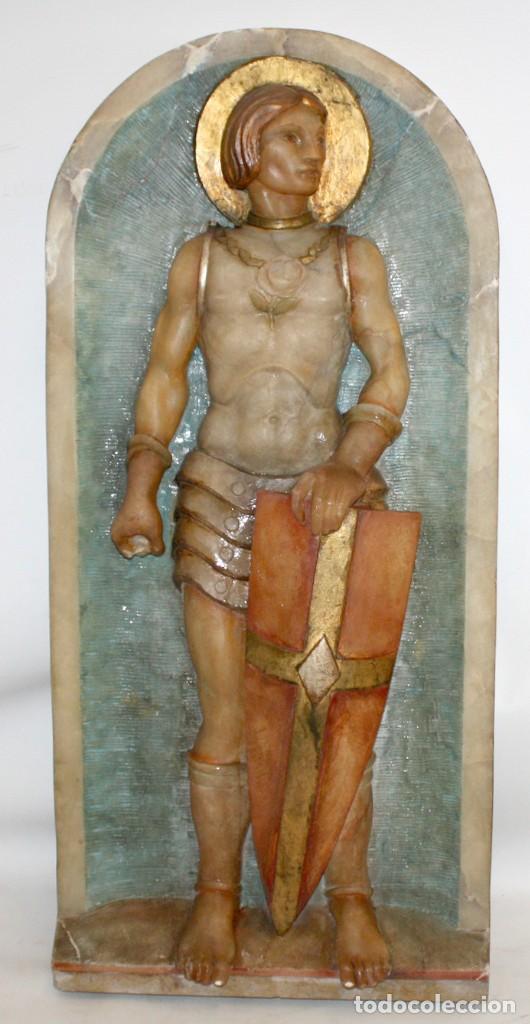 Arte: SENSACIONAL PLAFON DE SAN JORDI EN ALABASTRO DE APROXIMADAMENTE 1900 - Foto 2 - 142568714