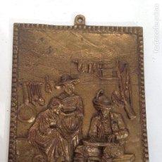 Arte: ANTIGUO CUADRO RELIEVE ESCULTURA BRONCE ARTESANAL S XIX,DECORACION CASA RURAL. Lote 142792754