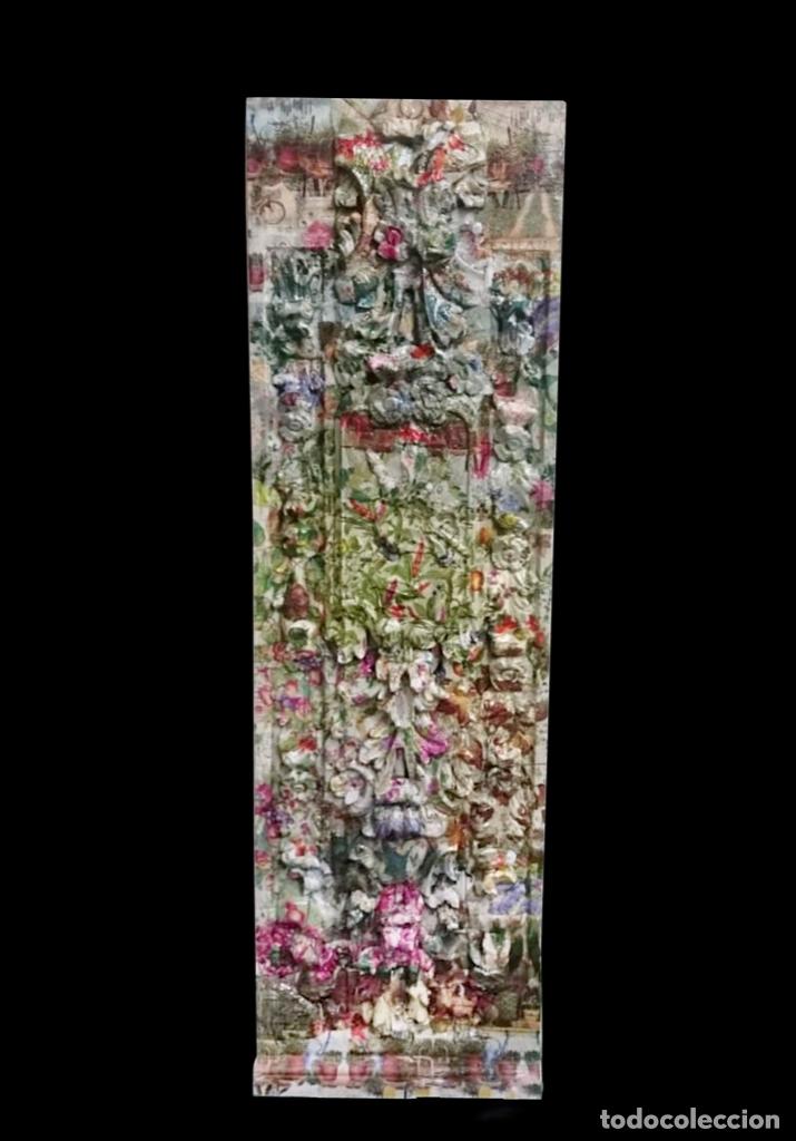 MARAVILLOSA TABLA EFECTO RETABLO DECORADA CON FLORES, FLORES, PÁJAROS Y FLORES.UNICA (Arte - Escultura - Resina)