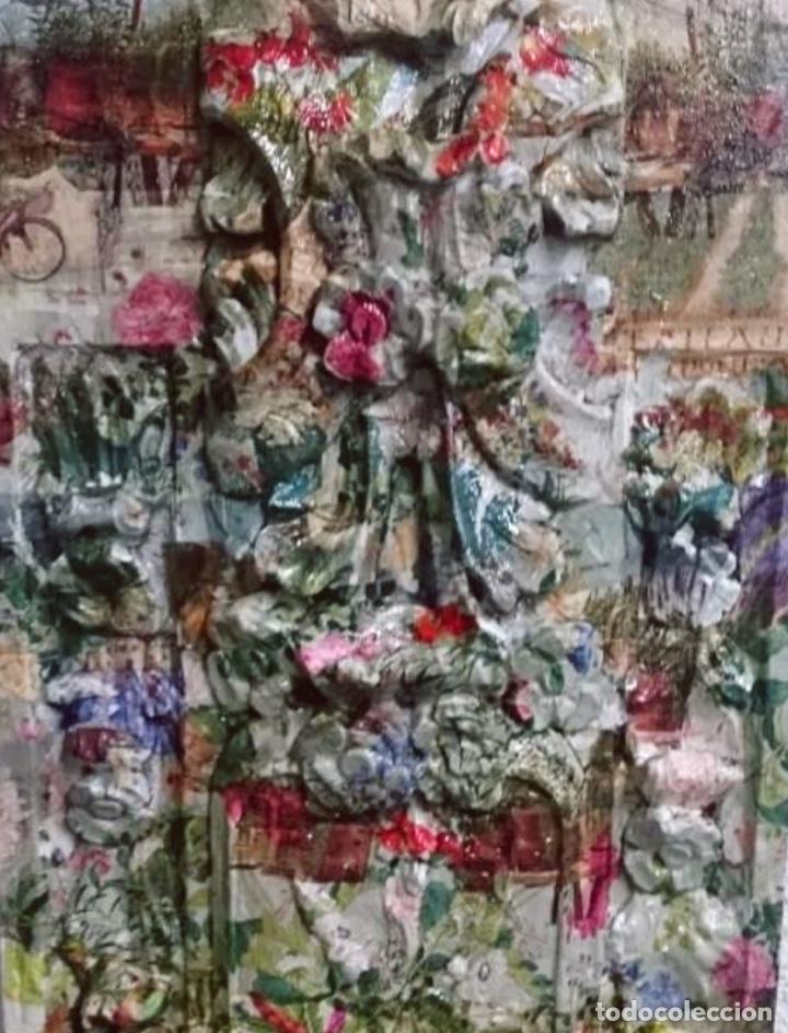 Arte: maravillosa tabla efecto retablo decorada con flores, flores, pájaros y flores.Unica - Foto 2 - 142822046