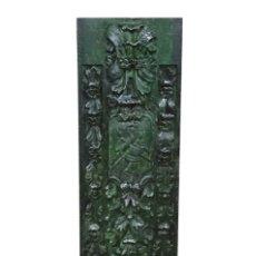 Arte: MARAVILLOSA TABLA EFECTO RETABLO, VERDE CON TOQUES NEGROS Y PLATA,. Lote 139364610