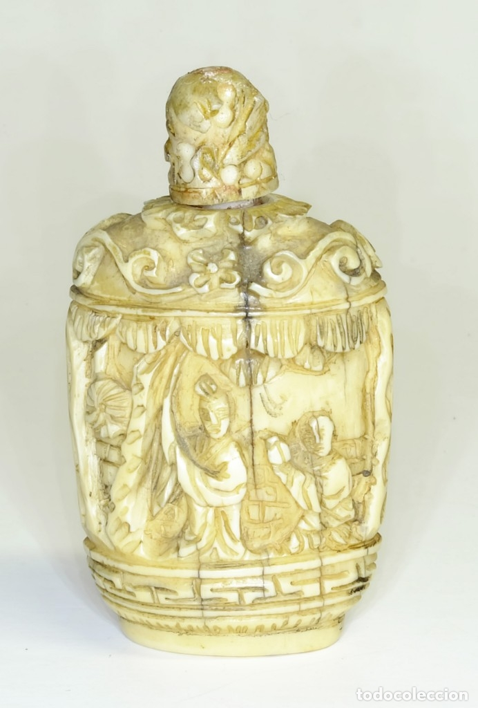 Arte: S.XIX - Antiguo perfumero o caja de opio o rapé ( snuffbox ) chino en miniatura en marfil - Foto 3 - 142695730