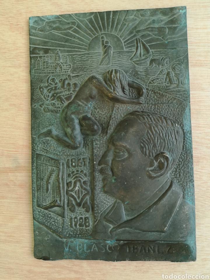 PLACA DE BRONCE V.BLASCO IBAÑEZ 1867-1928 (Arte - Escultura - Bronce)