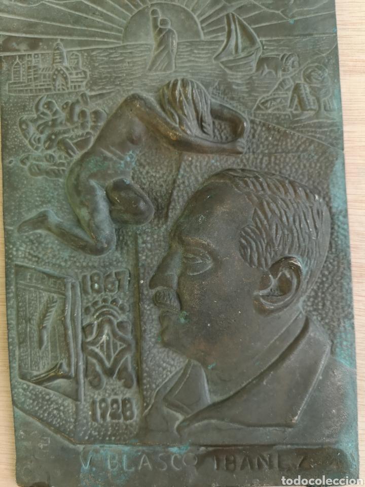 Arte: placa de bronce v.blasco ibañez 1867-1928 - Foto 2 - 143810450
