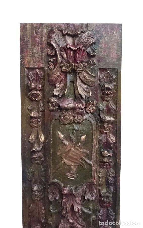 Arte: antigua Tabla de resina policromada, efecto retablo, preciosa - Foto 2 - 143800726