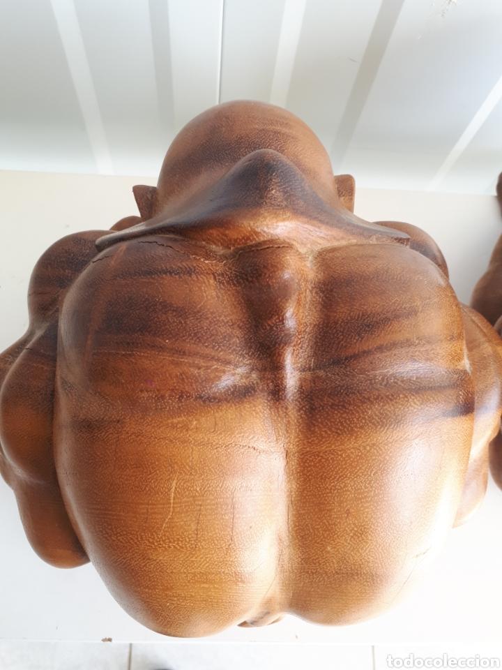 Arte: Espectacular pareja de figuras luchadores de sumo talladas a mano en bloque años 70 - Foto 5 - 143875550