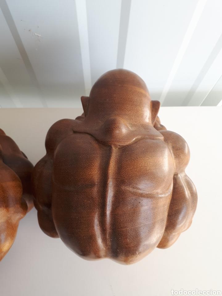 Arte: Espectacular pareja de figuras luchadores de sumo talladas a mano en bloque años 70 - Foto 6 - 143875550