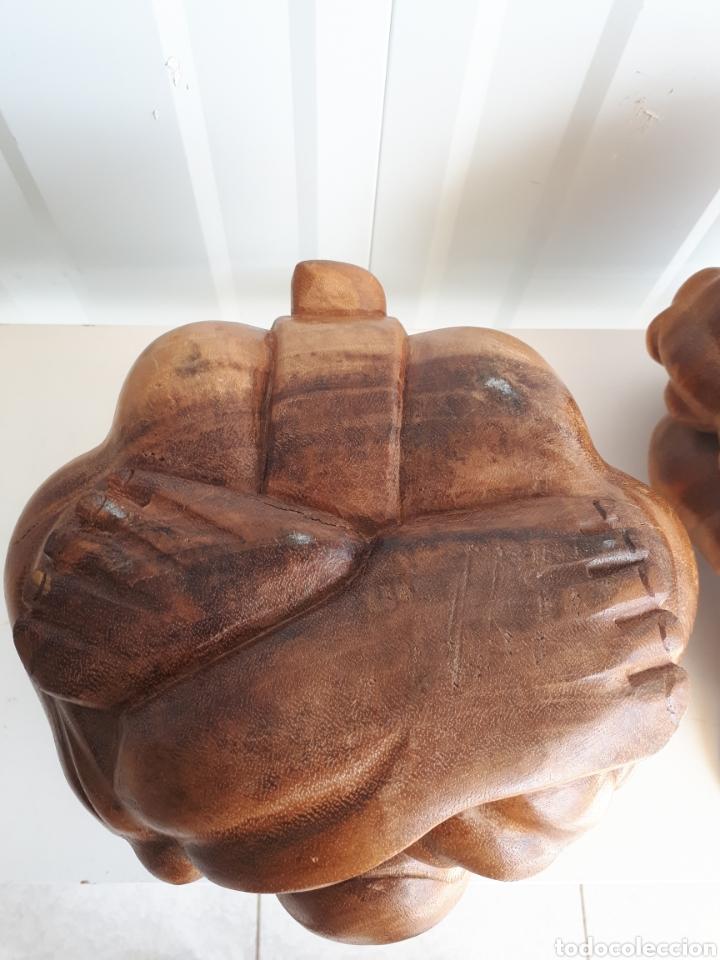 Arte: Espectacular pareja de figuras luchadores de sumo talladas a mano en bloque años 70 - Foto 8 - 143875550