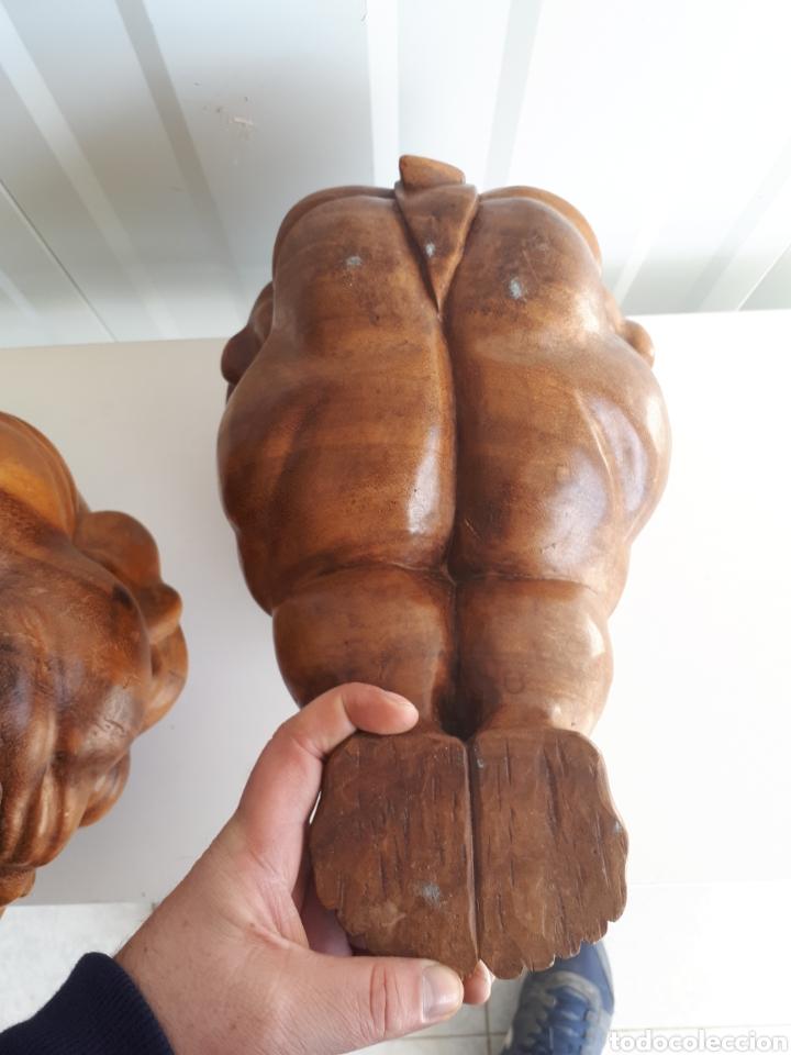 Arte: Espectacular pareja de figuras luchadores de sumo talladas a mano en bloque años 70 - Foto 9 - 143875550