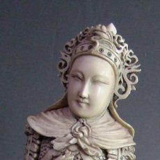 Arte: GRAN ESCULTURA TALLADO DE MARFIL - GUERRERO - APROX. 1900-1910. 30 CMS. MUY BUEN ESTADO.. Lote 144095586