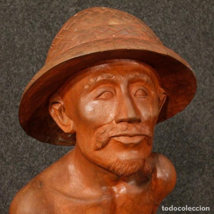 Arte: Escultura de pescador oriental en madera - Foto 2 - 144122002