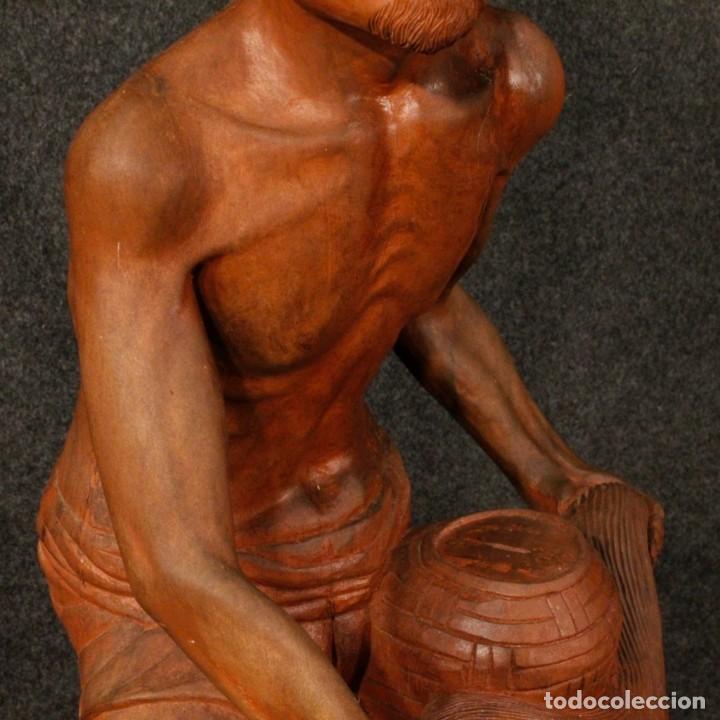 Arte: Escultura de pescador oriental en madera - Foto 3 - 144122002