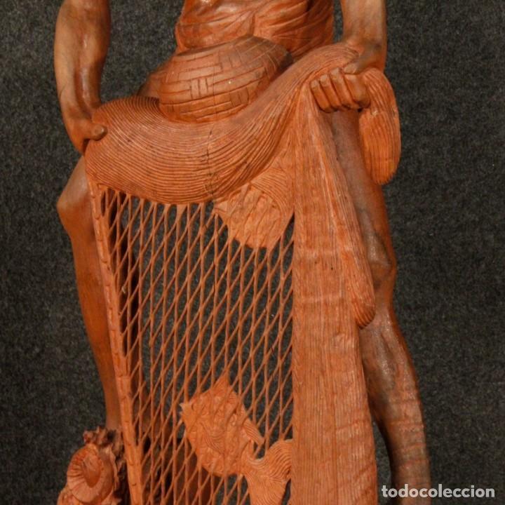 Arte: Escultura de pescador oriental en madera - Foto 5 - 144122002