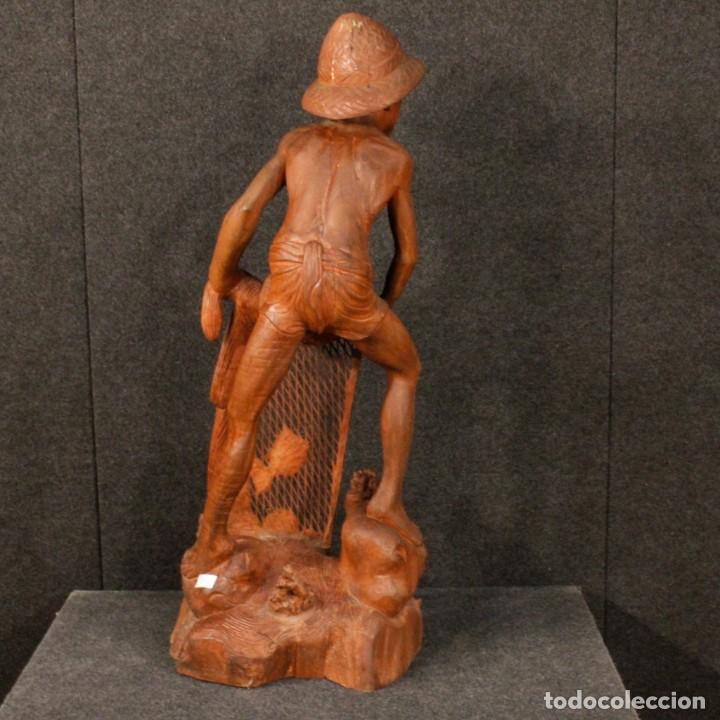 Arte: Escultura de pescador oriental en madera - Foto 6 - 144122002