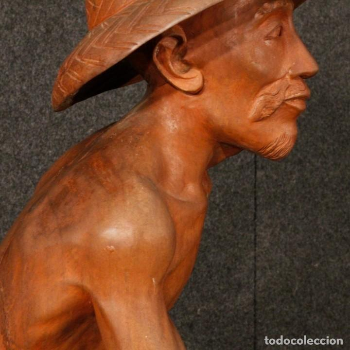 Arte: Escultura de pescador oriental en madera - Foto 7 - 144122002