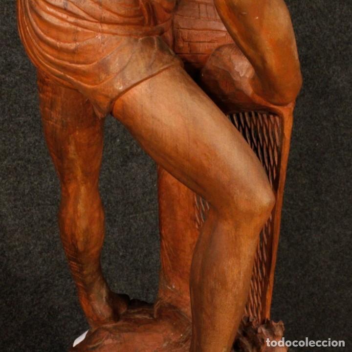Arte: Escultura de pescador oriental en madera - Foto 8 - 144122002