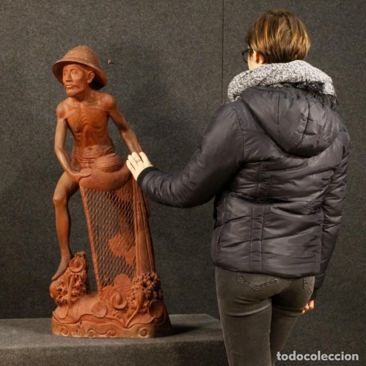 Arte: Escultura de pescador oriental en madera - Foto 10 - 144122002