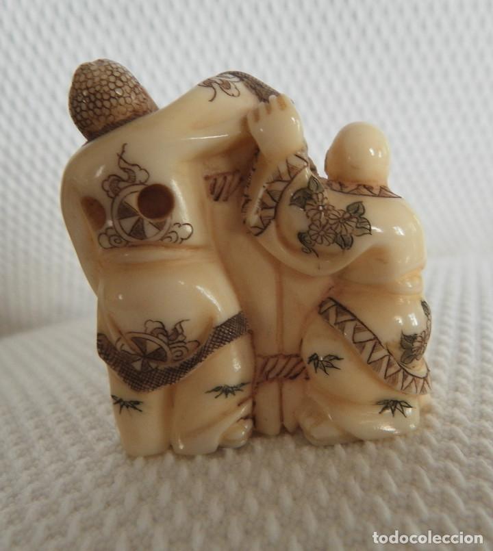 Arte: Netsuke de marfil/Mamut. Sin desperfectos. Aprox. 1940/50. Japón - Foto 3 - 144143558