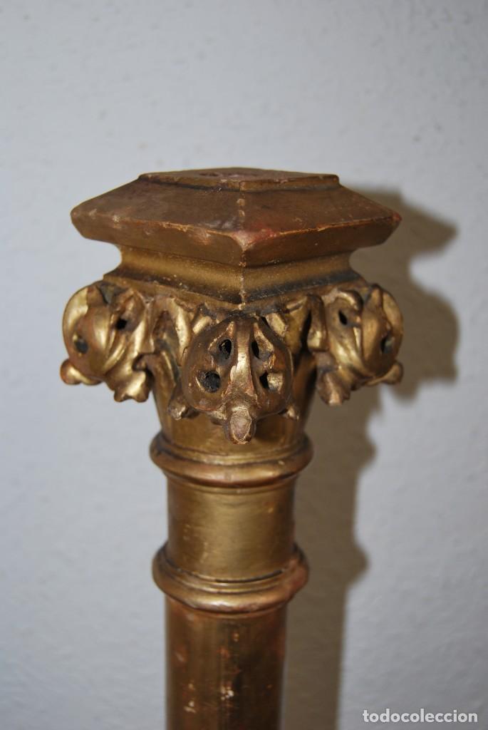 Arte: COLUMNA DE MADERA TALLADA - CAPITEL CORINTIO - PAN DE ORO - ALTAR - IGLESIA - SIGLO XIX - Foto 8 - 146857266