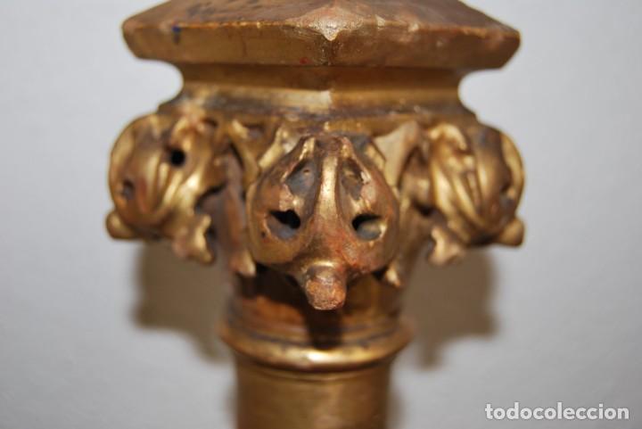 Arte: COLUMNA DE MADERA TALLADA - CAPITEL CORINTIO - PAN DE ORO - ALTAR - IGLESIA - SIGLO XIX - Foto 10 - 146857266