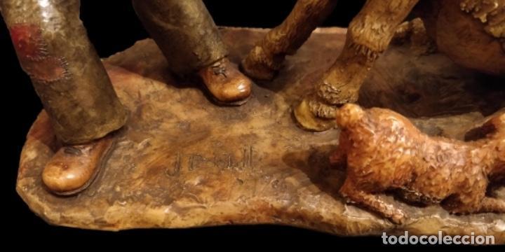 Arte: Josep bofill, primera época , hombre con perro tirando del burro, única en todocolección- - Foto 5 - 147280590