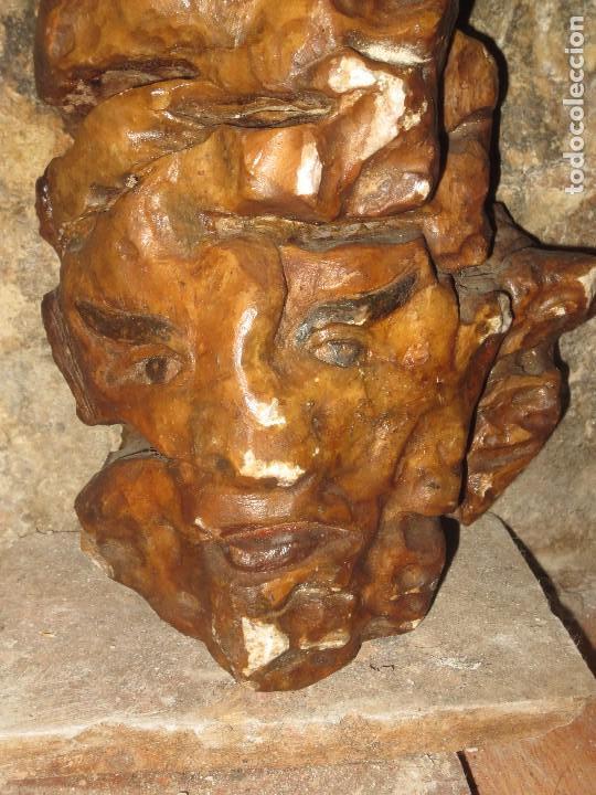 Arte: RARA Y ANTIGUA ESCULTURA BUSTO ORIENTAL EN PIEDRA DE MARMOL rosado Y POLICROMADA - Foto 2 - 103184731