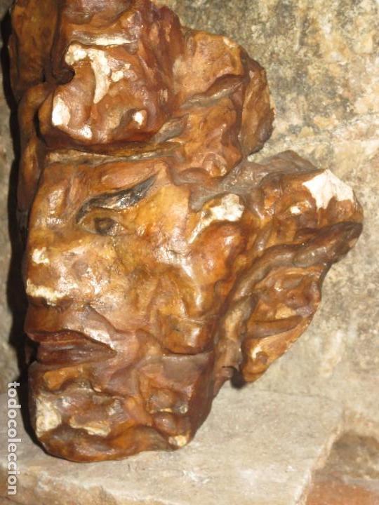 Arte: RARA Y ANTIGUA ESCULTURA BUSTO ORIENTAL EN PIEDRA DE MARMOL rosado Y POLICROMADA - Foto 5 - 103184731