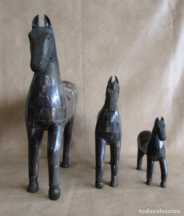 Arte: caballos chapados madera y bronce con cuernos de bufalo caballo - Foto 5 - 147710898