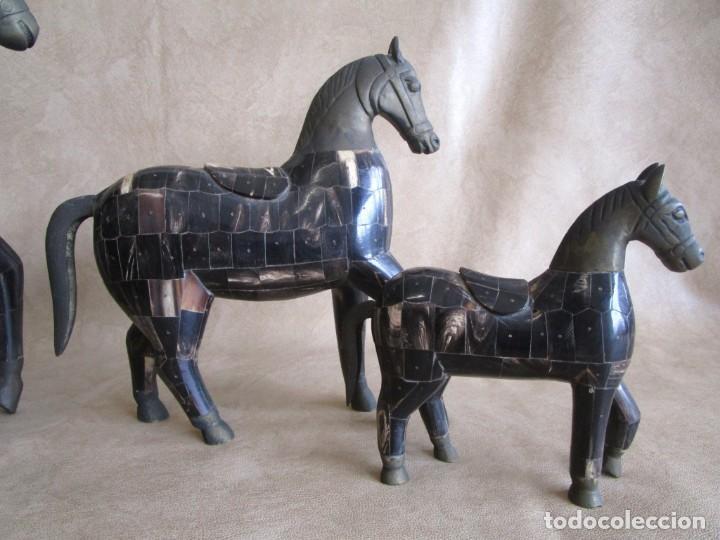 Arte: caballos chapados madera y bronce con cuernos de bufalo caballo - Foto 8 - 147710898