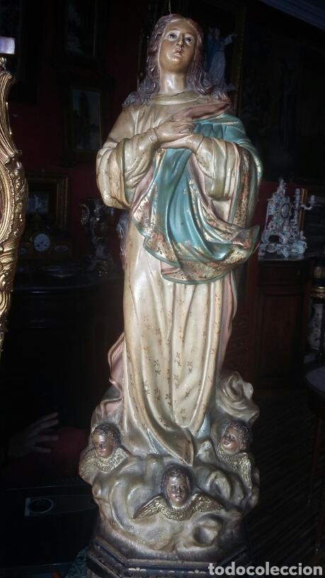 Arte: Inmaculada en madera tallada y policromada Olot siglo XIX - Foto 3 - 147774686