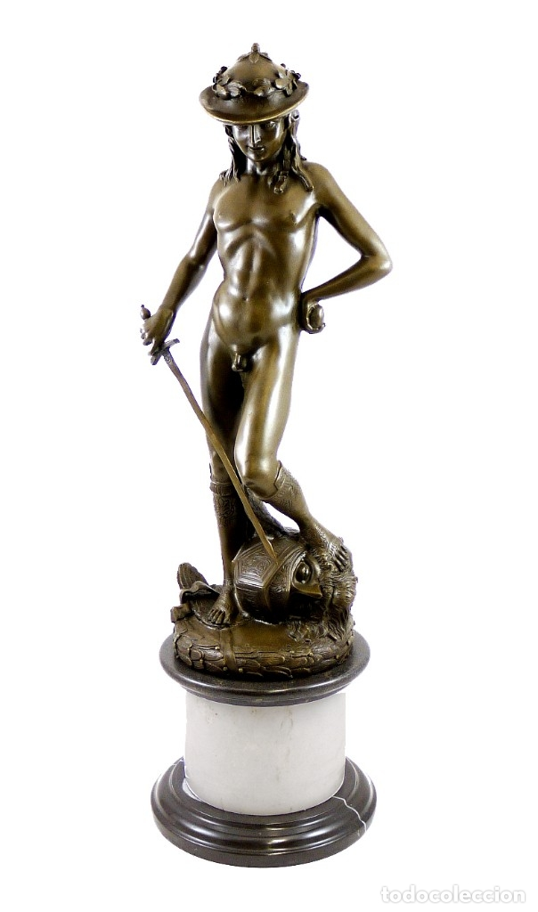 PRECIOSA ESCULTURA DE GRAN TAMAÑO, DEL DAVID DE BRONCE DE DONATELLO (64CM X 13,4KG) (Arte - Escultura - Bronce)