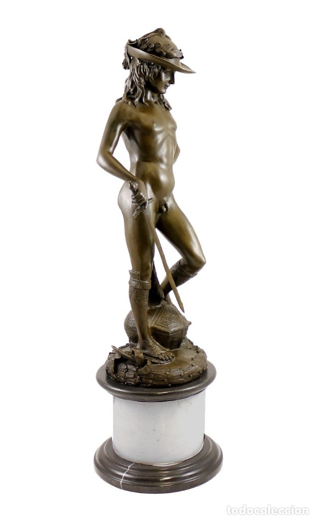 Arte: PRECIOSA ESCULTURA DE GRAN TAMAÑO, DEL DAVID DE BRONCE DE DONATELLO (64cm x 13,4kg) - Foto 7 - 40257269