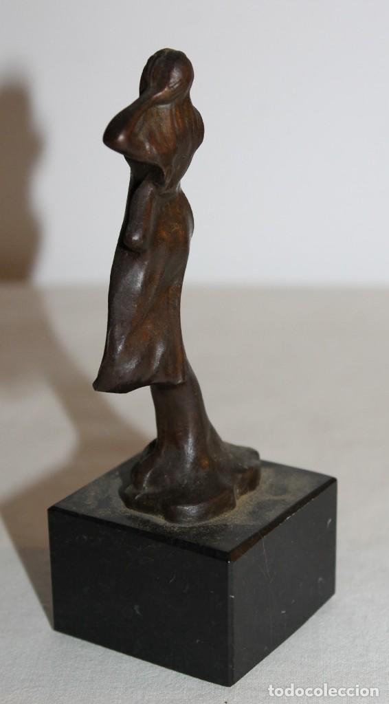 Arte: ESCULTURA EN BRONCE DE NINFA ESTILO ART NOUVEAU CON BASE DE MÁRMOL - MEDIADOS DEL SIGLO XX - Foto 3 - 148596402