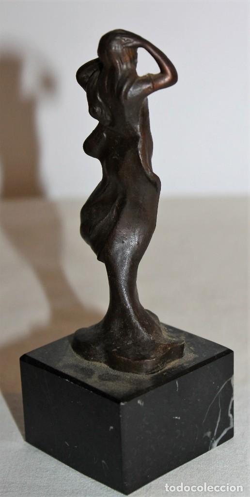 Arte: ESCULTURA EN BRONCE DE NINFA ESTILO ART NOUVEAU CON BASE DE MÁRMOL - MEDIADOS DEL SIGLO XX - Foto 4 - 148596402