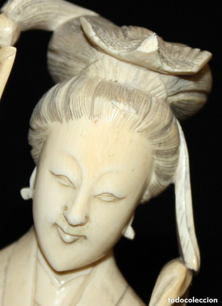 Arte: FIGURA EN MARFIL TALLADO DE MANUFACTURA CHINA. PRINCIPIOS DEL SIGLO XX - Foto 5 - 150079494