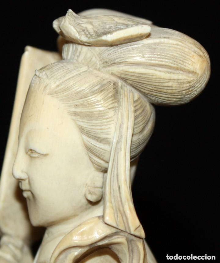 Arte: FIGURA EN MARFIL TALLADO DE MANUFACTURA CHINA. PRINCIPIOS DEL SIGLO XX - Foto 6 - 150079494
