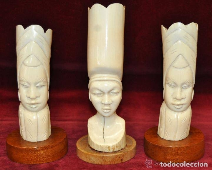 LOTE DE 3 FIGURAS DE MARFIL AFRICANO DE MEDIADOS DEL SIGLO XX (Arte - Escultura - Marfil)