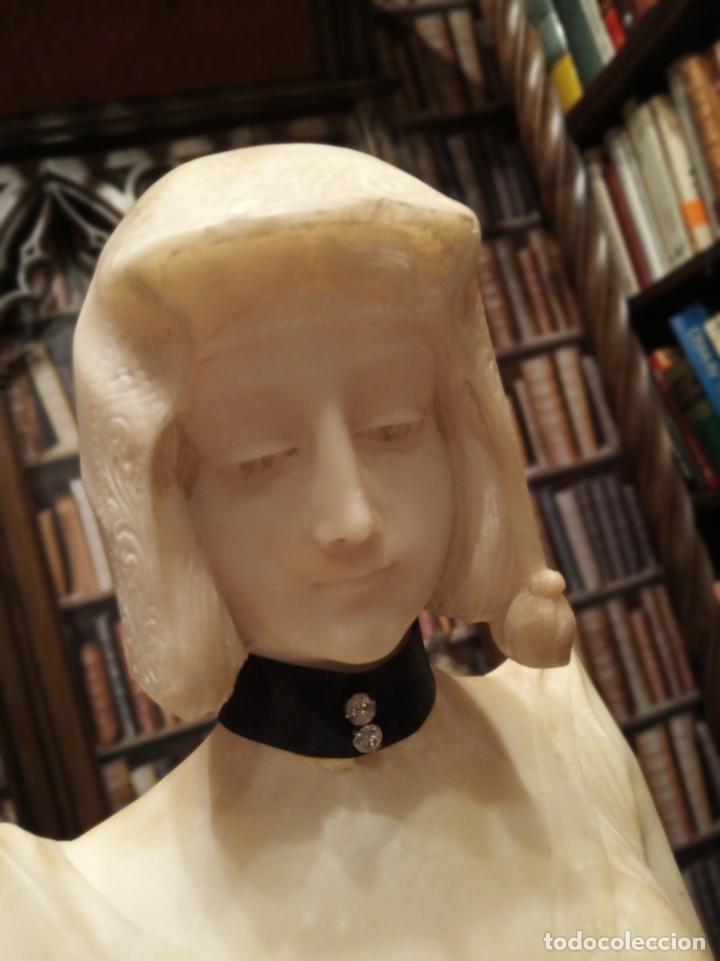 Arte: Bellísima escultura art nouveau de joven mujer con libro en la mano - firmada por el artista - - Foto 14 - 150142886