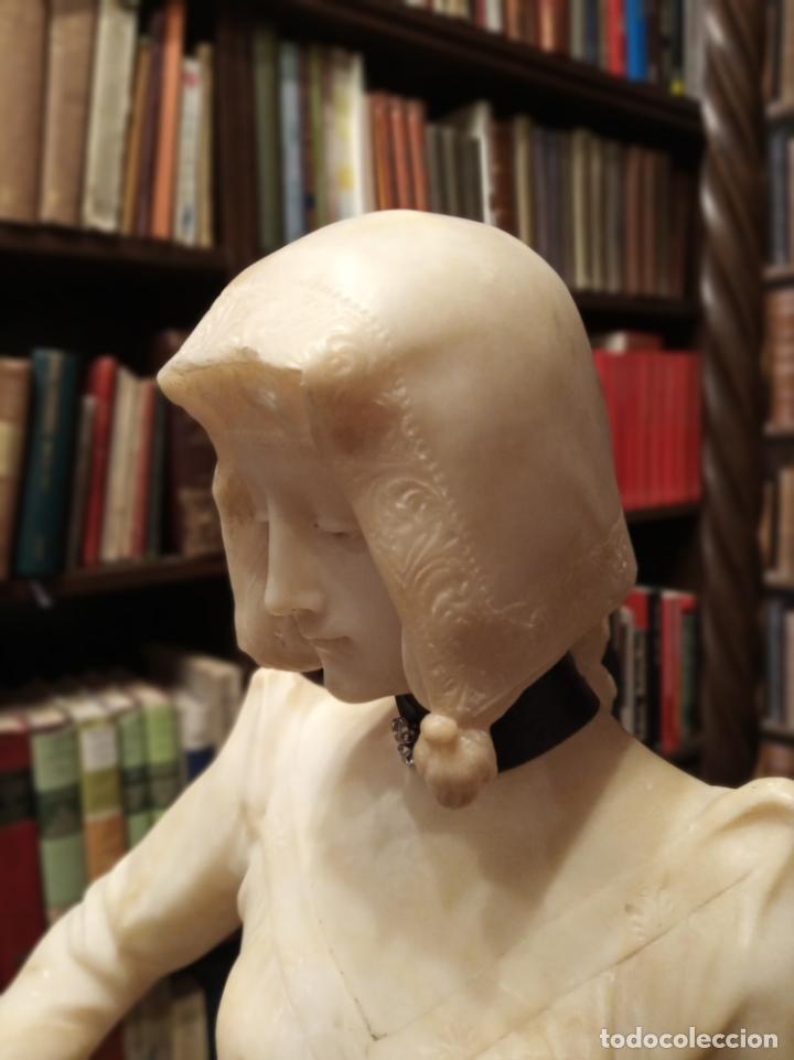 Arte: Bellísima escultura art nouveau de joven mujer con libro en la mano - firmada por el artista - - Foto 16 - 150142886