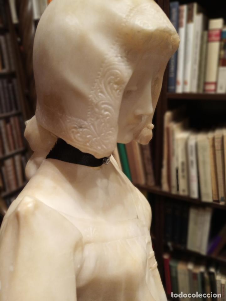 Arte: Bellísima escultura art nouveau de joven mujer con libro en la mano - firmada por el artista - - Foto 17 - 150142886
