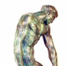 Arte: PRECIOSA ESCULTURA EN BRONCE PATINADO TURQUESA DE ADAN. A. RODIN (46 CM & 7,2 KG),. Lote 56319163