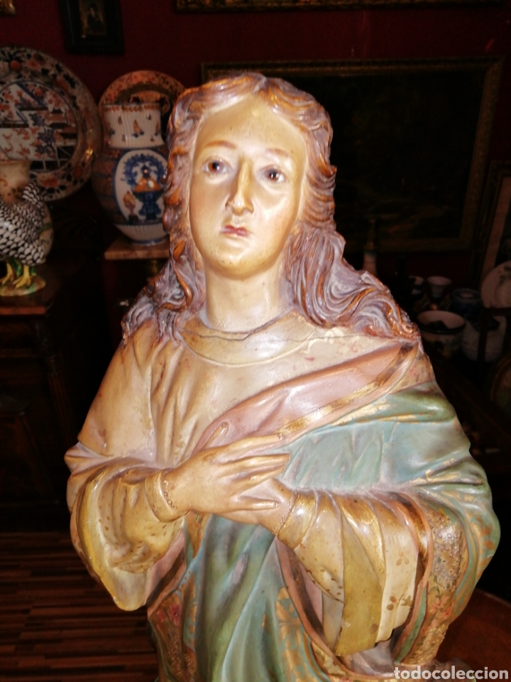 Arte: Inmaculada en madera tallada y policromada Olot siglo XIX - Foto 7 - 147774686