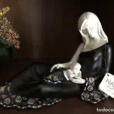 Arte: PRECIOSA FIGURA DE MADRE CON NIÑO COLECCIÓN GAUDÍ ORIGINAL DE NADAL GRAN TAMAÑO. Lote 151452844