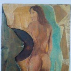 Arte: MUJER CON SOMBRA. RELIEVE. EUGENIO DE LA TORRE. TÉCNICA MIXTA.. Lote 152048338