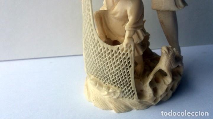 Arte: Pescador marfil chino, excelente talla, principios del siglo xx, perfecto estado, medida: 37cm, - Foto 4 - 140520338