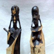 Arte: PAREJA DE TALLAS AFRICANAS EN ÉBANO BICOLOR. SIN ROTURAS, VER DESCRIPCIÓN.. Lote 152151394