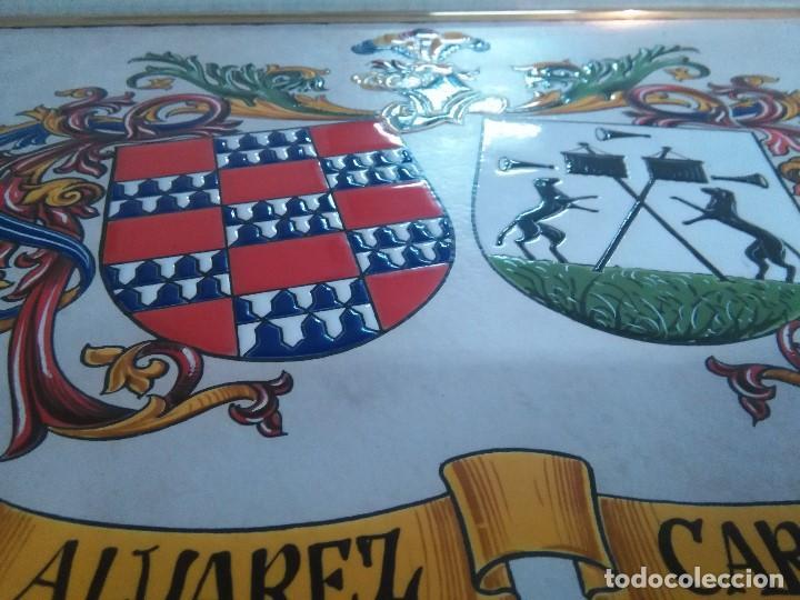 Arte: CUADRO ESCUDO HERALDICO PORCELANA ALVAREZ CARBAJO - Foto 5 - 152374298
