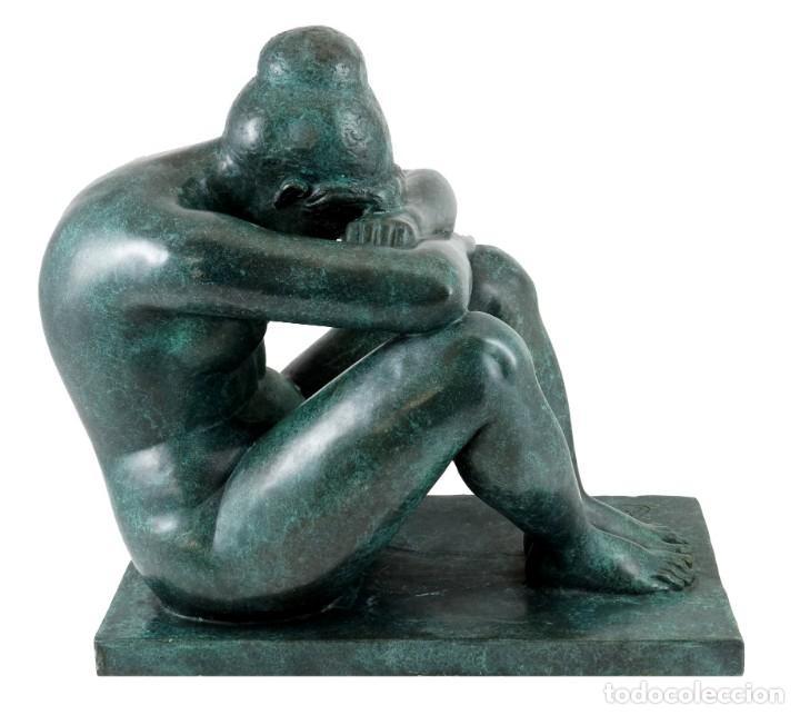 ESCULTURA DE BRONCE PATINADO. ARTE MODERNO POR A. MAILLOL- 1902-1909 (33CM & 8,7KG) (Arte - Escultura - Bronce)